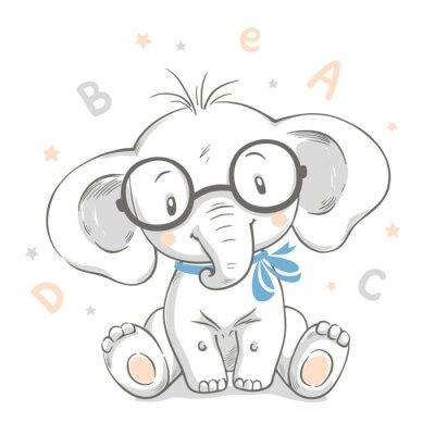 Posters Illustration vectorielle dessinés à la main d'un bébé éléphant mignon dans de grands verres.