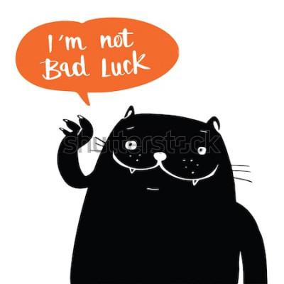 Posters Illustration vectorielle doodle style un chat noir et je ne suis pas malchanceux dans le discours de ballon, conception de bande dessinée.
