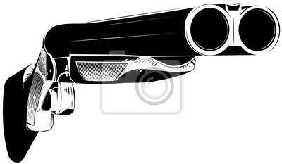 Posters Illustration vectorielle fusil noir et blanc fond isolé
