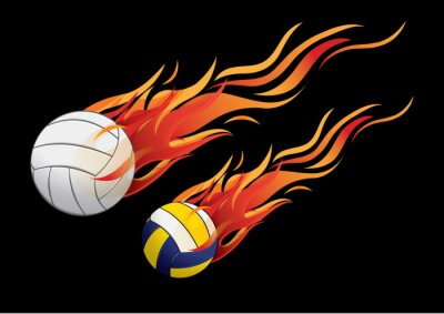 Posters illustration vectorielle volleyball firesport