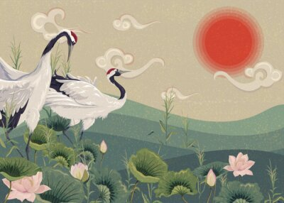 Posters Illustration with Japanese cranes in the lake at sunset