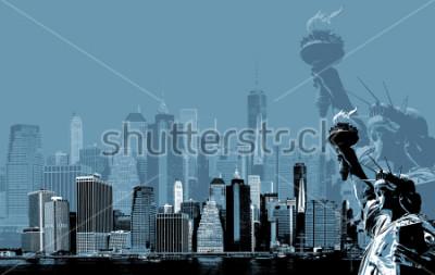 Posters Image abstraite de manhattan. Symboles de New York. Skyline de Manhattan et la Statue de la Liberté à New York. Art contemporain et style affiche en bleu