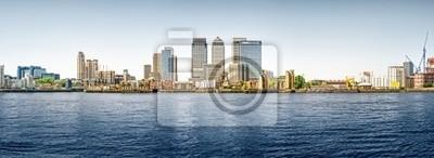 Image panoramique de Canary Wharf de Greenwich.