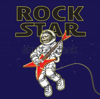 Posters image vectorielle d'un astronaute à l'image d'un musicien de rock dans l'espace dans le style de graphiques de dessin animé