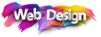 Posters Impression sur papier Web design avec des coups de pinceau coloré.