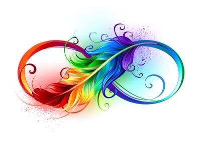 Posters Infinity symbol with rainbow feather
