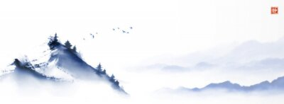 Posters Ink painting with mountains peak over the misty forest hills. Traditional oriental ink painting sumi-e, u-sin, go-hua. Translation of hieroglyph - silence