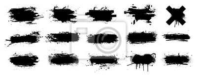 Posters Ink splashes stencil very detailed collection. High quality manually traced. Black inked splatter dirt stain splattered spray splash with drops blots. Isolated  Silhouettes dirty liquid vector grunge