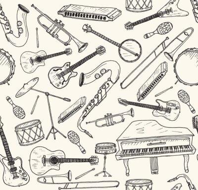 Posters Instruments de musique dessinés à la main.