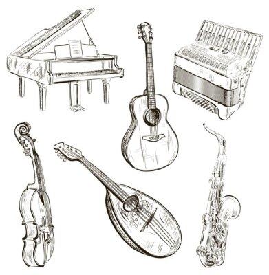 Posters instruments de musique en croquis de style