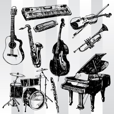 Posters Instruments de musique tirée par la main