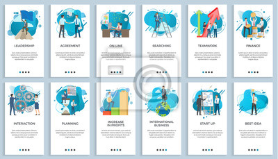 Posters International business vector, startup businessman do presentation of board best idea and solution of project problems, teamwork and increase in profits. For business website or app slider flat style