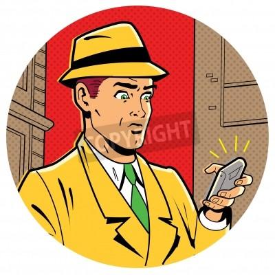 Posters Ironique Illustration satirique d'un rétro classique Comics Man Avec une Fedora et un smartphone moderne