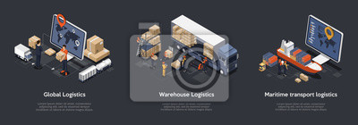 Posters Isometric Set Of Global Logistics, Warehouse Logistics, Maritime Transport Logistics. On Time Delivery Designed To Sort and Carry Large Numbers Of Cargo. Vector Illustration