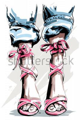 Posters Jambes dessinées à la main mignonne dans les chaussures. Belles chaussures d'été. Accessoires de mode. Esquisser. Illustration vectorielle