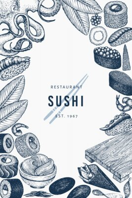 Posters Japanese cuisine banner template. Sushi hand drawn vector illustrations. Retro style asian food background.