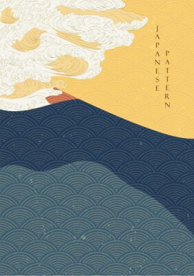 Posters Japanese wave template with Geometric pattern vector.