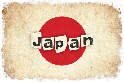 Posters Japon, drapeau grunge, Illustration, asian, pays, texte