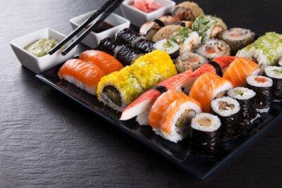 Posters Japonaise ensemble des fruits de mer de sushi