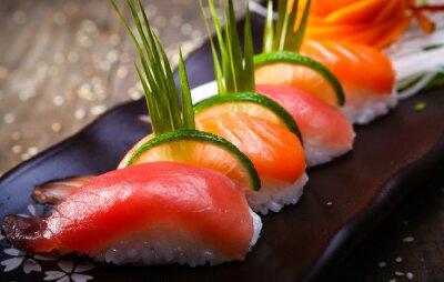 Posters Japonaise, saumon, thon, sushi, sauce, closeup
