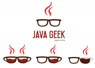 Posters Java geek logo design. Java programming language logotype. Geek glasses logo.