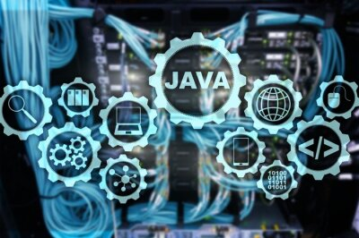 Posters  Java Programming concept. Virtual machine. On server room background.