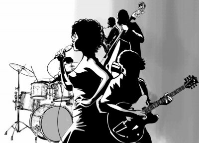 Posters Jazz singer with guitar saxophone and double-bass player