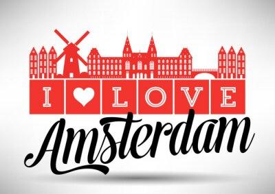 Posters Je aime Amsterdam Skyline Design