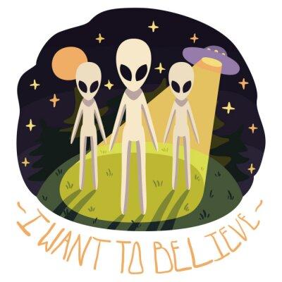 Posters Je veux croire vecteur affiche (arrière-plan) avec des étrangers sur la colline et des ovnis dans la nuit avec pleine lune et les étoiles (style cartoon)