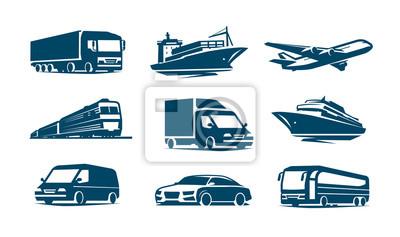 Posters Jeu d'icônes de transport. Symbole de transport Illustration vectorielle