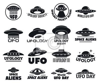 Posters Jeu de logo volant UFO. Ensemble simple de logo vectoriel volant UFO pour la conception web sur fond blanc