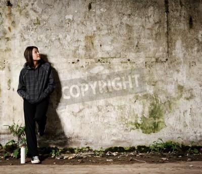 Posters Jeunesse planifier une fresque graffiti sur un mur vacants vide