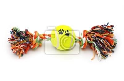 Jouet coloré pour chien avec une balle de tennis