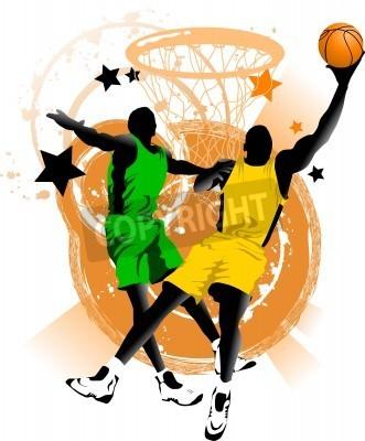 Posters joueur de basket-ball à l'arrière-plan des anneaux de basket-ball (vectoriels);