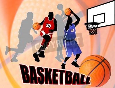 Posters joueurs d'action Basket-ball sur fond abstrait belle. Basket-ball classique affiche illustration