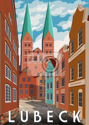 Jour d'été à Lubeck, en Allemagne. Affiche de style rétro.