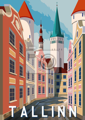 Jour d'été à Tallinn, Estonie. Affiche de style rétro.
