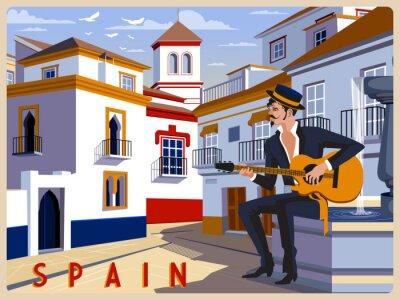 Jour d'été dans une petite ville, Andalousie, Espagne. Illustration vectorielle de dessin à la main. Style rétro.