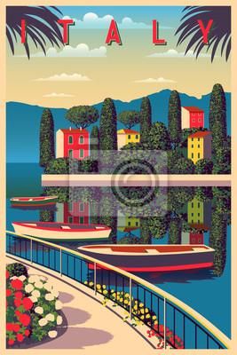 Journée d'été ensoleillée en Italie. Illustration vectorielle dessin à la main. Peut être utilisé pour des affiches, des bannières, des cartes postales, des livres, etc.