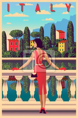 Journée d'été ensoleillée sur les rives du lac de Côme, en Italie. Illustration vectorielle dessin à la main. Peut être utilisé pour des affiches, des bannières, des cartes postales, des livres, etc.