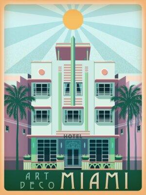 Journée ensoleillée à Miami, États-Unis. Illustration vectorielle de dessin à la main. Style Art déco.