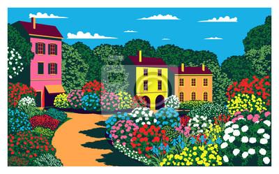 Journée ensoleillée dans le jardin près du pavillon. Vecteur de dessin à la main. Style pop art.