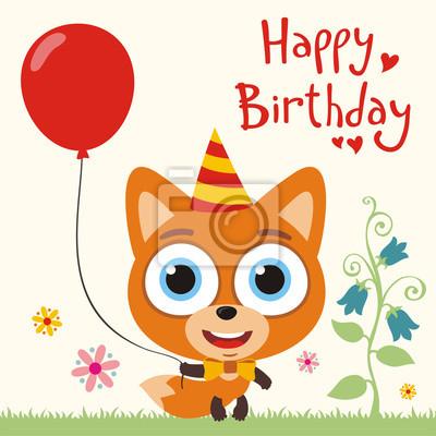 Joyeux Anniversaire Fox Drole Avec Le Ballon Rouge Carte