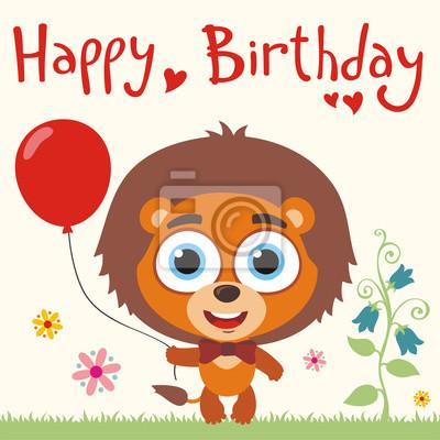 Posters Joyeux Anniversaire Lion Drôle Avec Le Ballon Rouge Carte Danniversaire