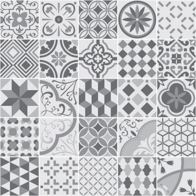 Posters Kafle roślinne śródziemnomorskie - wektor