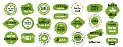 Posters Keto friendly diet nutrition vector badge set on green organic texture isolated on white-ketogenic diet sign, keto diet menu. Vegetables icon eco friendly diet with leaves. 10 eps