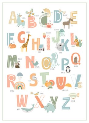 Posters Kids english alphabet, A to Z with cute cartoon animals. Editable vector illustration