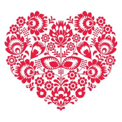 Posters L'art populaire Saint Valentin de coeur rouge - modèle polonais