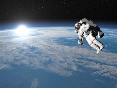 Posters L'astronaute ou cosmonaute volant sur la terre - 3D render