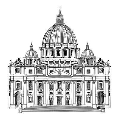 Posters La cathédrale Saint-Pierre, à Rome, en Italie. L'architecture du Vatican.